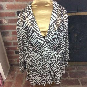 Chico's 100% Silk Sheer Wrap Top Zebra Print Sz. 2